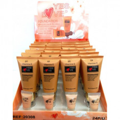 MAQUILLAJE FLUIDO YES LOVE CON VITAMINA E  4 TONOS 55ML. (1.25€'¬ UNIDAD) PACK 24