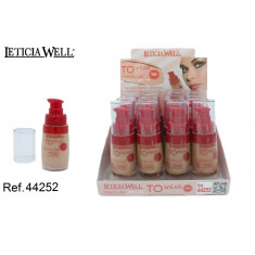 MAQUILLAJE FLUIDO 4 COLORES TO WEAR  12H. 30ML.(1.25€'¬ UNIDAD) PACK 16  LETICIA WELL
